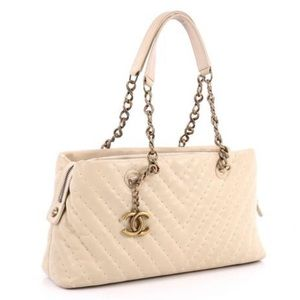 Coming soon chanel small chevron cream bag